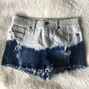 somewhat distressed high waisted shorts